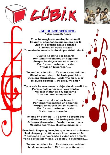 cubikanciones letra - MI DULCE SECRETO copia